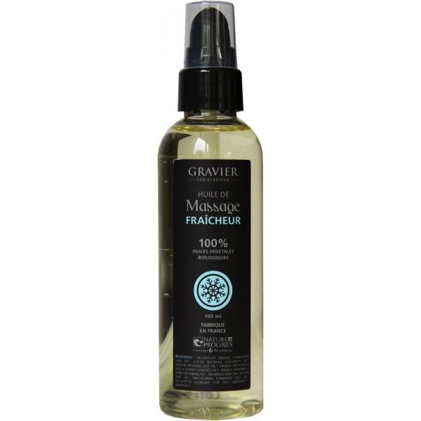 Créaféïne - packaging huile de massage fraicheur labo gravier